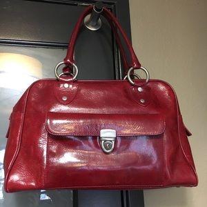 Faux leather red handbag/satchel